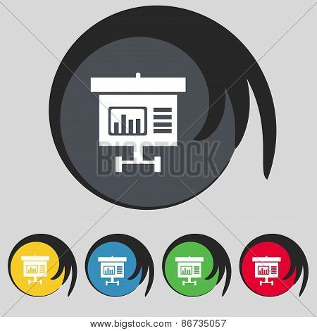 Graph Icon Sign. Symbol On Five Colored Buttons. Vector