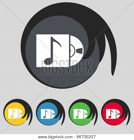 Cd Player Icon Sign. Symbol On Five Colored Buttons. Vector