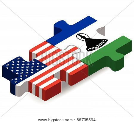 Usa And Lesotho Flags In Puzzle