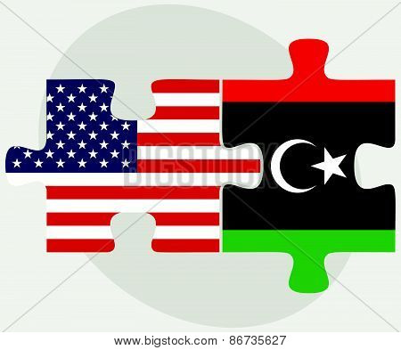 Usa And Libya Flags In Puzzle