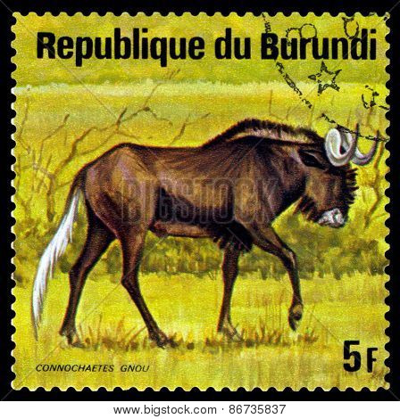 Vintage  Postage Stamp. Wildebeest. Animals Burundi.