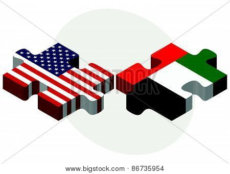 Usa And United Arab Emirates Flags In Puzzle