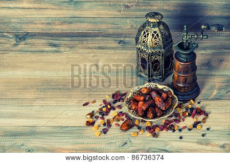 Raisins And Dates. Vintage Oriental Lantern. Retro Style Toned