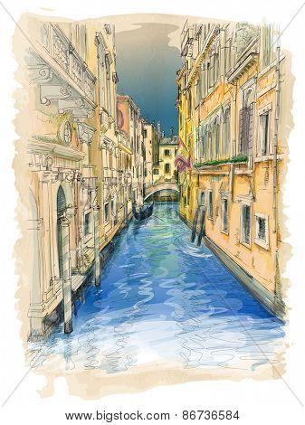Venice - water channel, old buildings & gondola away