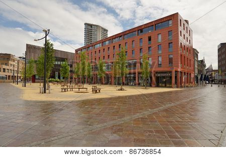 EINDHOVEN, NETHERLANDS - JUNE 23, 2013: Shopping and apartment building Catharinahuis on Catharinaplein. It was erected in 2003-2005 on the site of the oldest city house De Halve Maen
