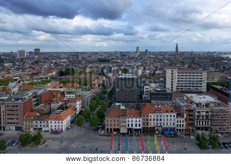 ANTWERP, BELGIUM - JUNE 23, 2013: Cityscape viewed from Museum aan de Stroom boulevard. The Museum at the river was opened in May 2011 and is the largest museum in the city