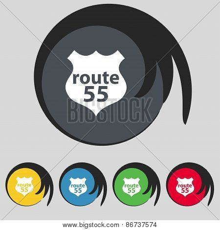 Route 55 Highway Icon Sign. Symbol On Five Colored Buttons. Vector