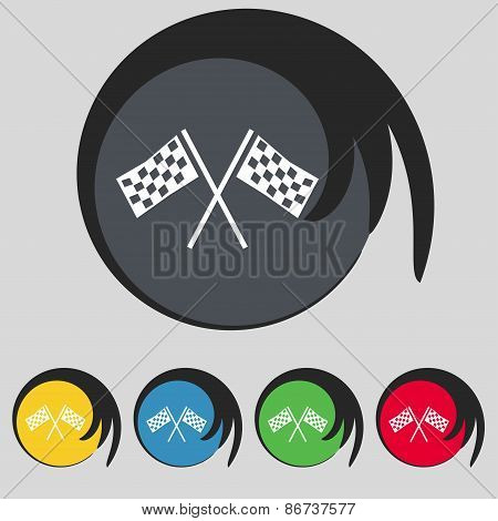 Race Flag Finish Icon Sign. Symbol On Five Colored Buttons. Vector