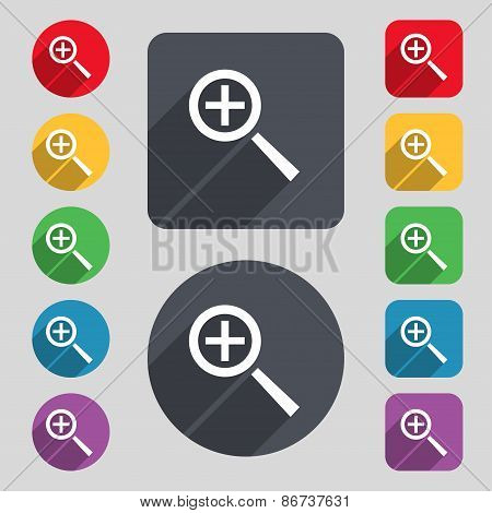 Magnifier Glass, Zoom Tool Icon Sign. A Set Of 12 Colored Buttons And A Long Shadow