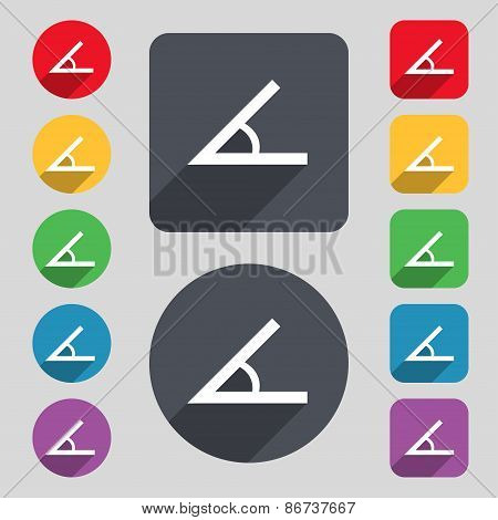 Angle 45 Degrees Icon Sign. A Set Of 12 Colored Buttons And A Long Shadow