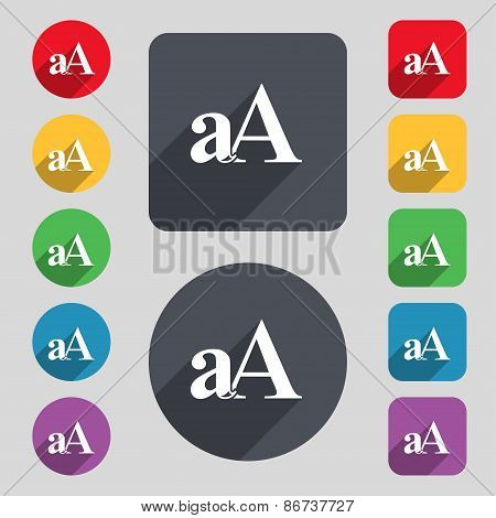 Enlarge Font, Aa Icon Sign. A Set Of 12 Colored Buttons And A Long Shadow