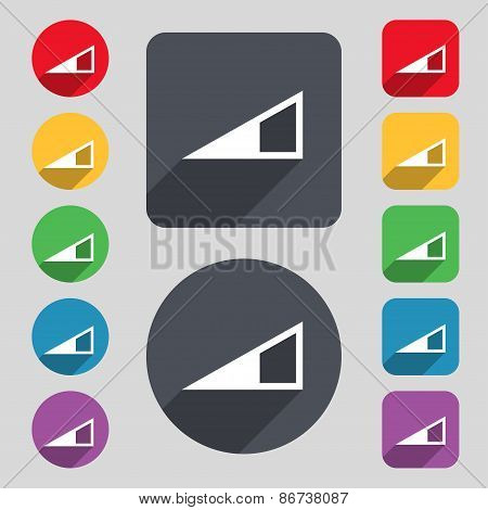 Speaker Volume Icon Sign. A Set Of 12 Colored Buttons And A Long Shadow