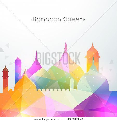 Shiny colorful illustration of mosque for the occasion of Islamic holy month of prayers, Ramadan Kareem.