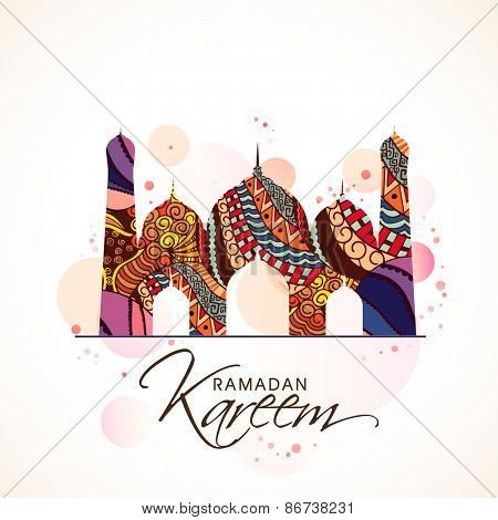 Beautiful colourful floral design on a mosque, Concept for Islamic holy month of Prayers, Ramadan Kareem celebrations.