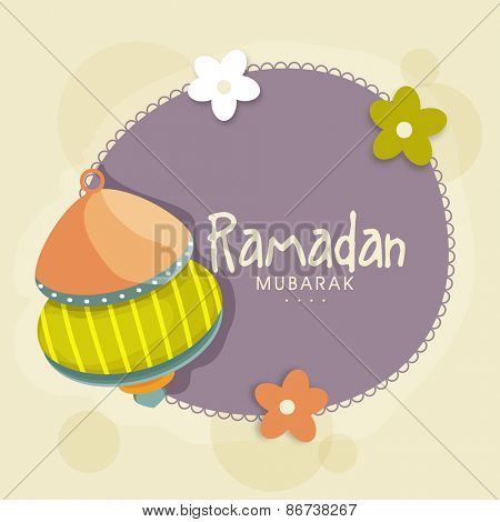 Beautiful greeting card decorated with colourful arabic lantern and flowers for Islamic holy month of prayers, Ramadan Mubarak celebrations.