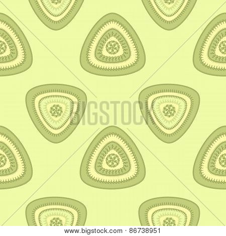 Abstract Seamless pattern with triangle in green light