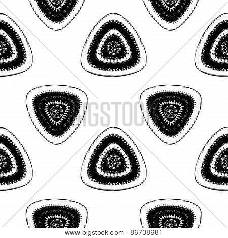 Abstract Seamless pattern with triangle in black white light