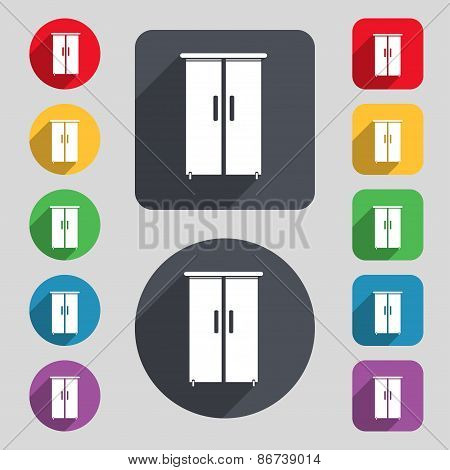 Cupboard Icon Sign. A Set Of 12 Colored Buttons And A Long Shadow