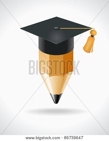 Pencil with academic cap. Concept of education. File is saved in AI10 EPS version. This illustration contains a transparency