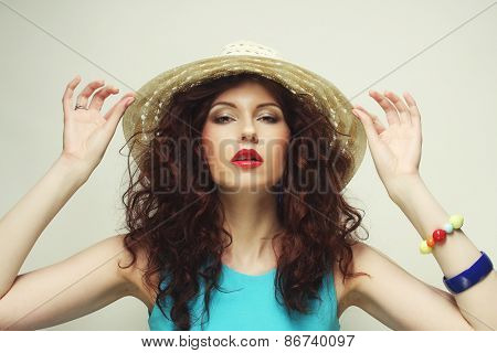 Beautiful young woman with hat, happy time