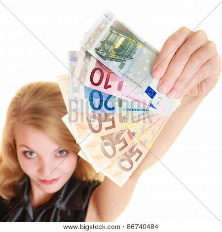 Rich Woman Showing Euro Currency Money Banknotes.