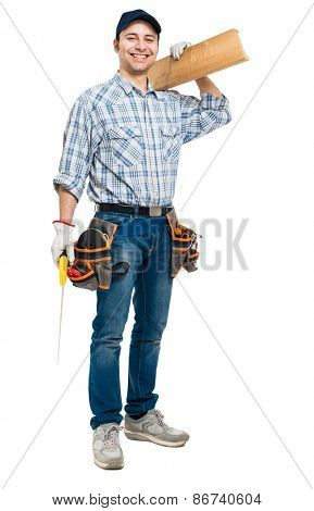 Carpenter with his tools isolated full length