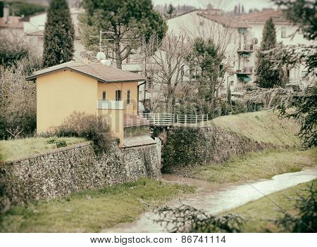 Typical Tuscan House Near The River.
