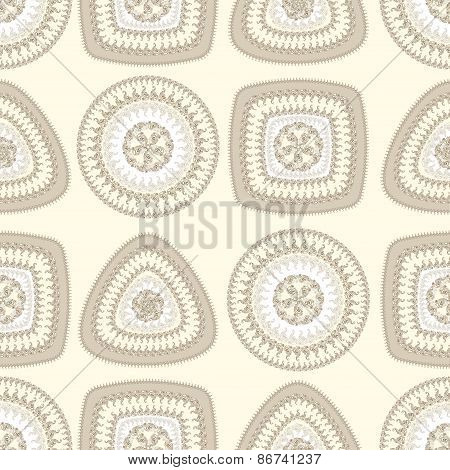 Seamless pattern with circle triangle square in beige