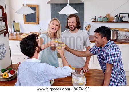 group of diverse friends having fun with drinks in kitchen