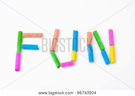 Color Chalk Arranged To Spell Word Fun