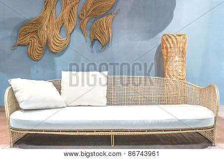 Relaxing Rattan Sofa In Living Room