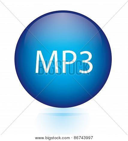MP3 blue circular button
