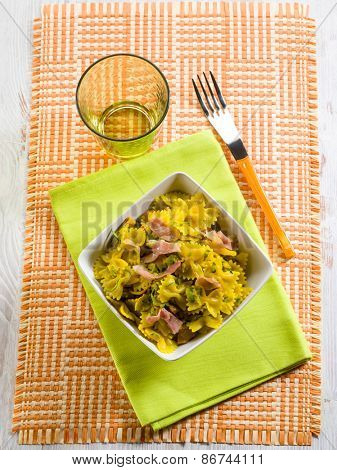 butterfly pasta with speck zucchinis saffron