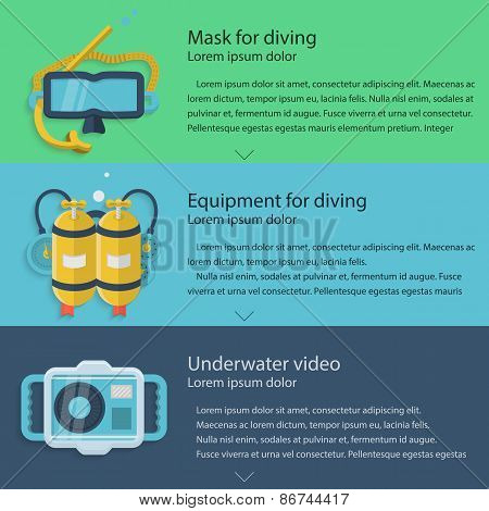 Diving equipment colored vector illustration