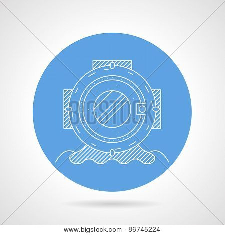 Round vector icon for scuba helmet