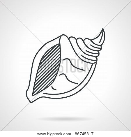 Black line vector icon for sea shell