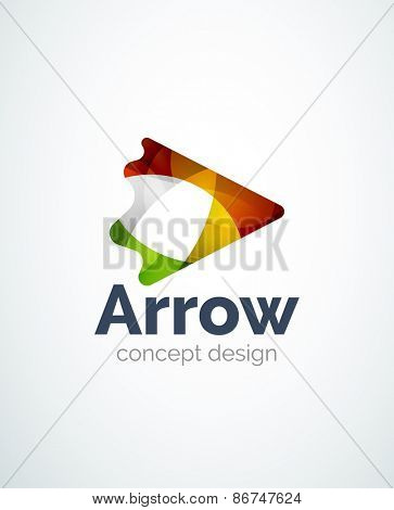 Abstract arrow logo design of color pieces, overlapping geometric shapes.  Light and shadow effects