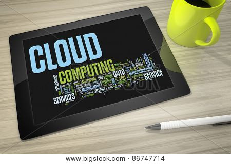 An image of a tablet pc with tag cloud cloud computing