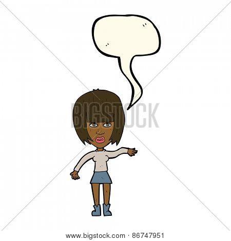 cartoon woman waving away with speech bubble