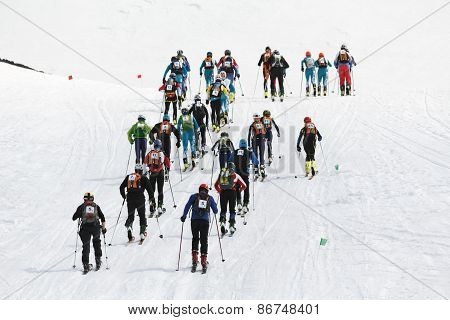 Group Of Ski Mountaineers Raised The Avacha Volcano. Team Race Ski Mountaineering. Russia, Kamchatka
