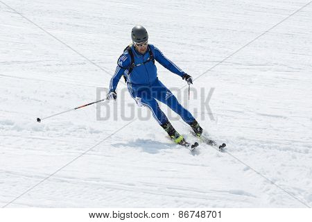 Ski mountaineer skiing the Avacha Volcano. Team Race ski mountaineering. Russia, Kamchatka