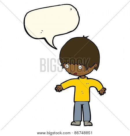 cartoon confused boy with speech bubble