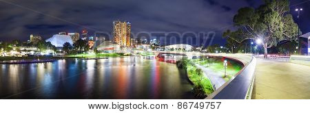 Panorama of Adelaide in South Australia at night