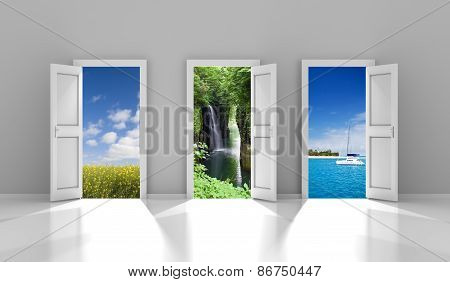 Three doors leading to different travel destinations
