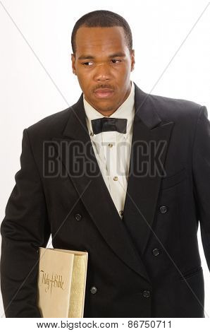 African American preacher holding a bible, isolated over white