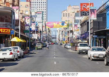 View of Hindley Street in Adelaide, South Australia