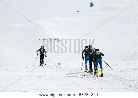 Teams Of Ski Mountaineers Climb The Volcano On Skis. Team Race Ski Mountaineering. Russia, Kamchatka