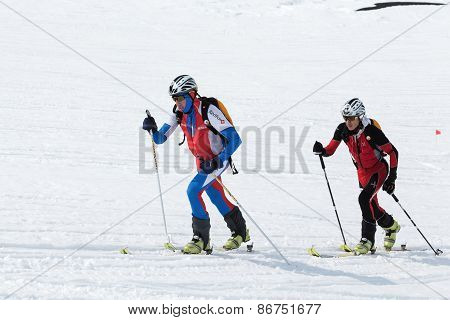Team Ski Mountaineers Climb The Mountain On Skis. Team Race Ski Mountaineering. Russia, Kamchatka