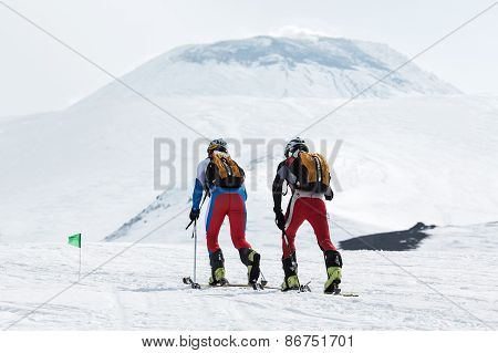 Team Ski Mountaineers Climb The Avachinsky Volcano On Skis. Team Race Ski Mountaineering. Kamchatka