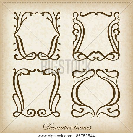 Vector set of calligraphic Vintage frame